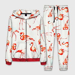 Костюм мужской Оранжевые фламинго цвета 3D-красный — фото 1
