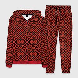 Костюм мужской Духобор: Обережная вышивка цвета 3D-красный — фото 1