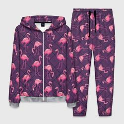 Костюм мужской Фиолетовые фламинго цвета 3D-меланж — фото 1