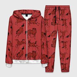 Костюм мужской Красные кони цвета 3D-белый — фото 1