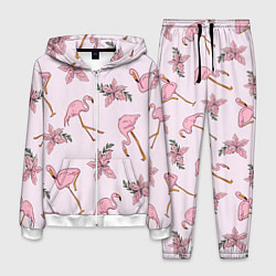 Костюм мужской Розовый фламинго цвета 3D-белый — фото 1