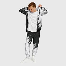 Костюм мужской Черно-белый разрыв цвета 3D-черный — фото 2