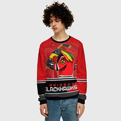Свитшот мужской Chicago Blackhawks цвета 3D-черный — фото 2