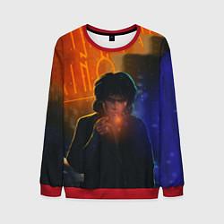 Свитшот мужской Виктор Цой в ночи цвета 3D-красный — фото 1