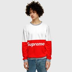 Свитшот мужской Supreme: White & Red цвета 3D-меланж — фото 2