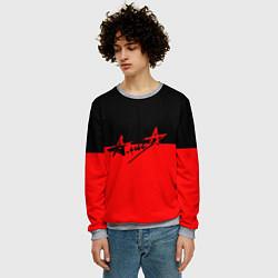 Свитшот мужской АлисА: Черный & Красный цвета 3D-меланж — фото 2