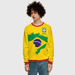 Свитшот мужской Сборная Бразилии: желтая цвета 3D-красный — фото 2