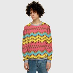 Свитшот мужской Цветные зигзаги цвета 3D-меланж — фото 2