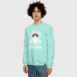 Свитшот хлопковый мужской Pokemon: I'm just here цвета мятный — фото 2