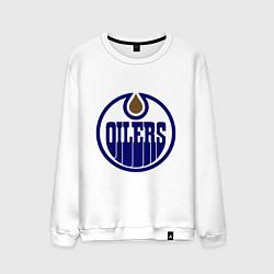 Свитшот хлопковый мужской Edmonton Oilers цвета белый — фото 1