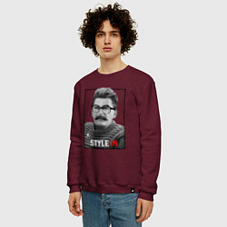 Свитшот хлопковый мужской Stalin: Style in цвета меланж-бордовый — фото 2