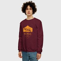 Свитшот хлопковый мужской AS Roma: Autumn Top цвета меланж-бордовый — фото 2