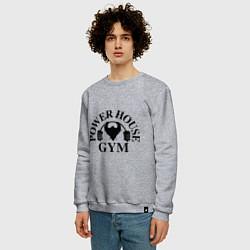 Свитшот хлопковый мужской Power House Gym цвета меланж — фото 2