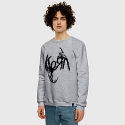 Свитшот хлопковый мужской Korn bones цвета меланж — фото 2