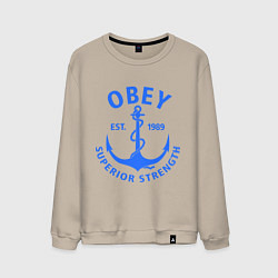 Свитшот хлопковый мужской OBEY: Suprerior Strength цвета миндальный — фото 1
