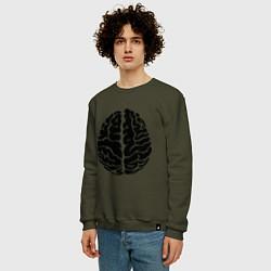 Свитшот хлопковый мужской Он: мозг цвета хаки — фото 2