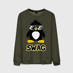 Свитшот хлопковый мужской SWAG Penguin цвета хаки — фото 1