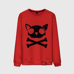 Свитшот хлопковый мужской Кошачий пиратскй флаг цвета красный — фото 1