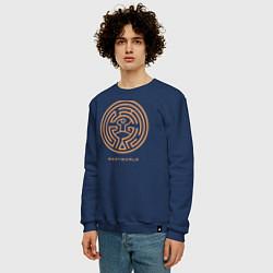 Свитшот хлопковый мужской Westworld labyrinth цвета тёмно-синий — фото 2
