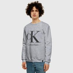 Свитшот хлопковый мужской Calvin Klein цвета меланж — фото 2