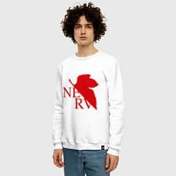 Свитшот хлопковый мужской Евангелион NERV цвета белый — фото 2