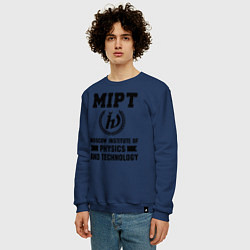 Свитшот хлопковый мужской MIPT Institute цвета тёмно-синий — фото 2