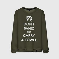 Свитшот хлопковый мужской Dont panic & Carry a Towel цвета хаки — фото 1