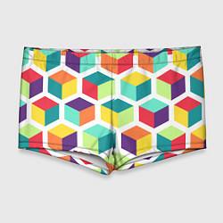 Мужские плавки 3D кубы цвета 3D — фото 1