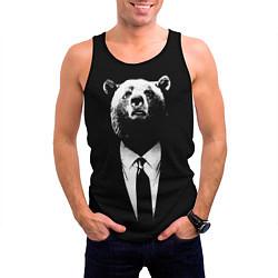 Мужская 3D-майка без рукавов с принтом Медведь бизнесмен, цвет: 3D-черный, артикул: 10113467304123 — фото 2