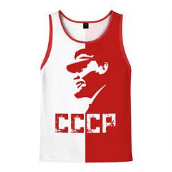 Майка-безрукавка мужская Ленин СССР цвета 3D-красный — фото 1
