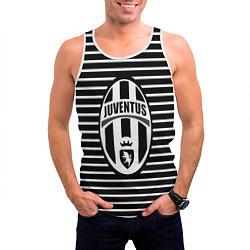 Майка-безрукавка мужская FC Juventus: Black Lines цвета 3D-белый — фото 2