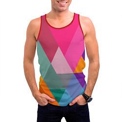 Майка-безрукавка мужская Разноцветные полигоны цвета 3D-красный — фото 2