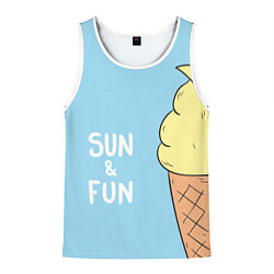 Майка-безрукавка мужская Sun & Fun цвета 3D-белый — фото 1