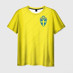 Футболка мужская Сборная Швеции: Домашняя ЧМ-2018 цвета 3D-принт — фото 1