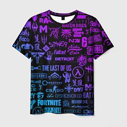 Футболка мужская Неоновые лого игр цвета 3D-принт — фото 1