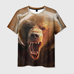 Футболка мужская Рык медведя цвета 3D-принт — фото 1