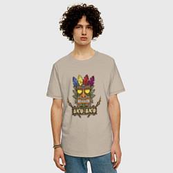 Футболка оверсайз мужская Aku-Aku (Crash Bandicoot) цвета миндальный — фото 2