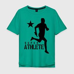 Футболка оверсайз мужская Лёгкая атлетика цвета зеленый — фото 1