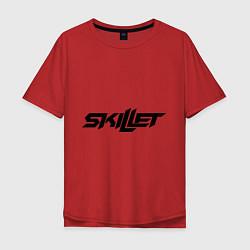 Мужская удлиненная футболка с принтом Skillet, цвет: красный, артикул: 10013055805753 — фото 1