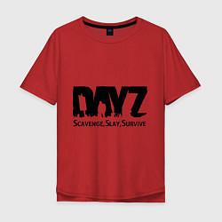 Футболка оверсайз мужская DayZ: Slay Survive цвета красный — фото 1