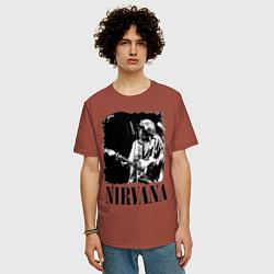 Футболка оверсайз мужская Black Nirvana цвета кирпичный — фото 2