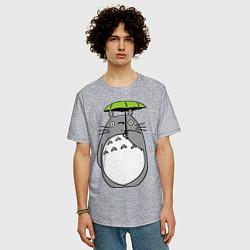 Футболка длинная мужская Totoro с зонтом - фото 2