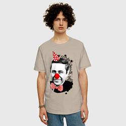 Футболка оверсайз мужская Евгений Петросян клоун цвета миндальный — фото 2