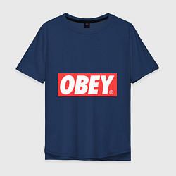 Футболка оверсайз мужская OBEY Logo цвета тёмно-синий — фото 1