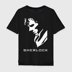 Футболка оверсайз мужская Sherlock Face цвета черный — фото 1