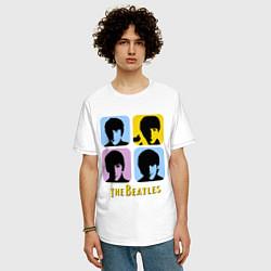 Футболка оверсайз мужская The Beatles: pop-art цвета белый — фото 2