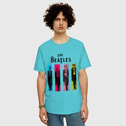 Футболка оверсайз мужская Walking Beatles цвета бирюзовый — фото 2