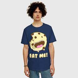 Футболка оверсайз мужская Cake: Eat me! цвета тёмно-синий — фото 2