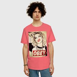 Футболка оверсайз мужская Obey girl цвета коралловый — фото 2