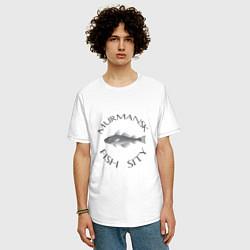 Футболка оверсайз мужская Мурманск цвета белый — фото 2